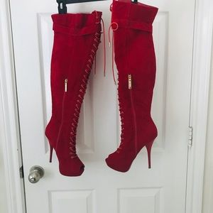 Shoes - Thigh high red boots